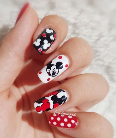 Classic Mickey colors with a different decal print on each nail.