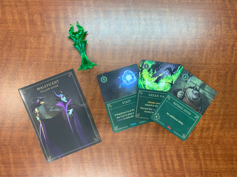 Disney Villainous Maleficent cards and game piece