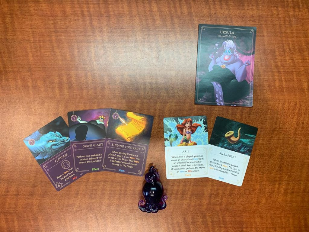 Disney Villainous Ursula cards and game piece