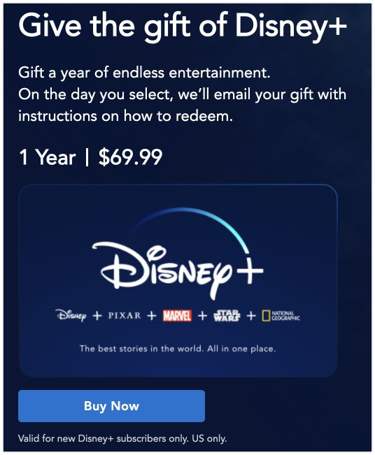 Gift the gift of Disney Plus subscription.