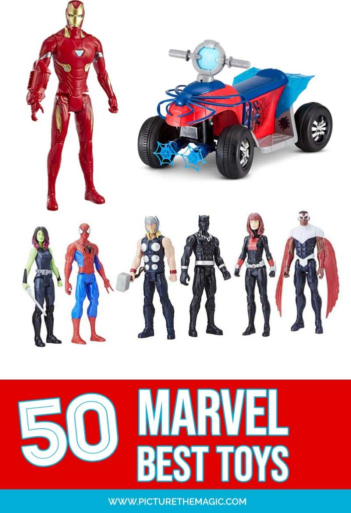 This list of the best Marvel Toys will help you find the perfect Avengers, Spiderman, Iron Man, Captain America, Captain Marvel toys and more! #marvel #disney #ironman #avengers #spiderman #captainamerica #incrediblehulk #toys