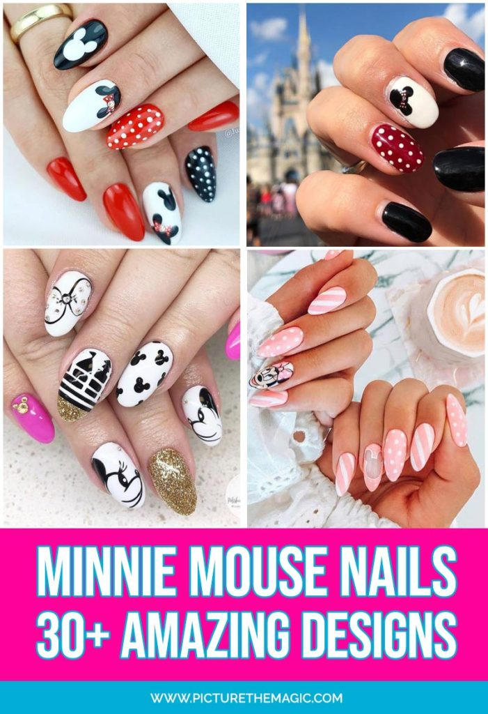 Minnie Mouse nails!! Get inspired to make true Minnie Mouse nail art with these magical designs. Get the Minnie Mouse look...here's how. #minniemouse #minniemousenails