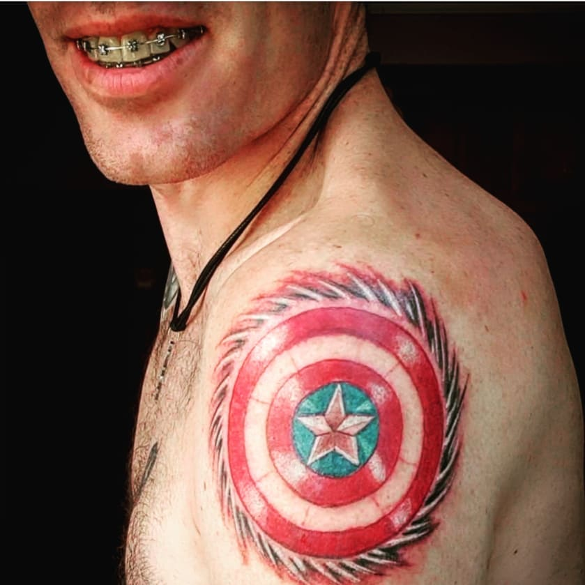 Captain America spiked shield tattoo