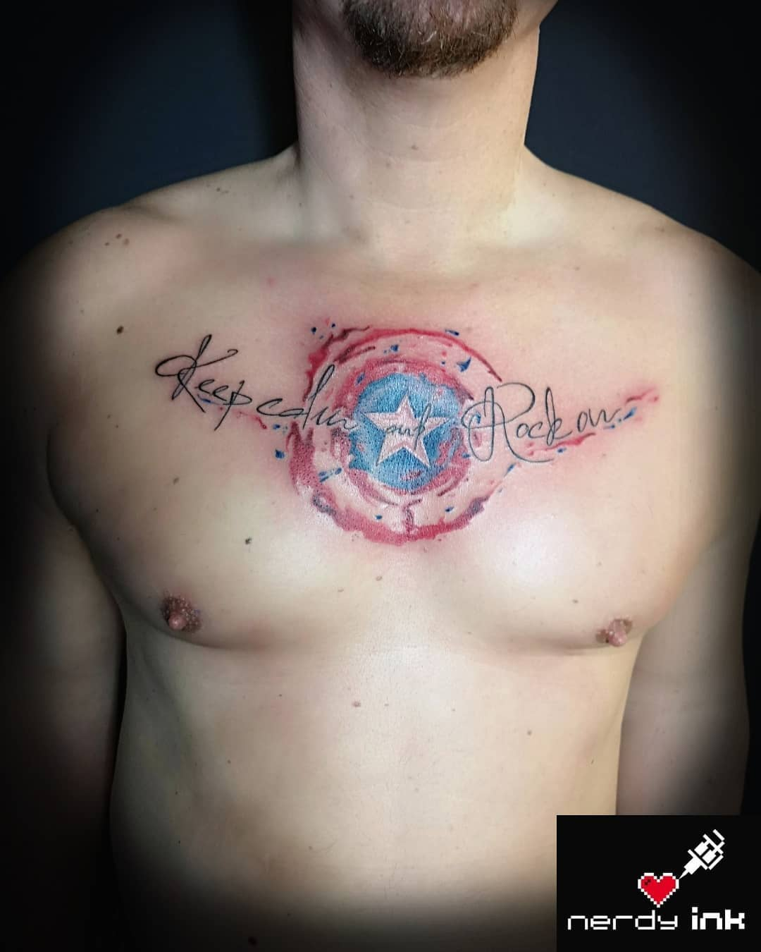 """Captain America """"keep calm and rock on"""" tattoo"""