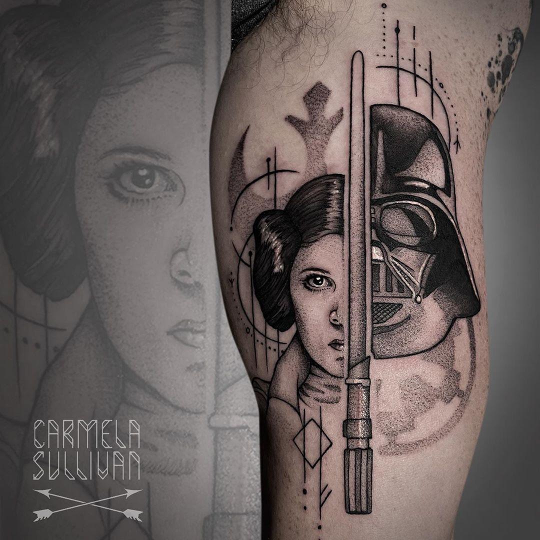 Darth Vader & Princess Leia tattoo