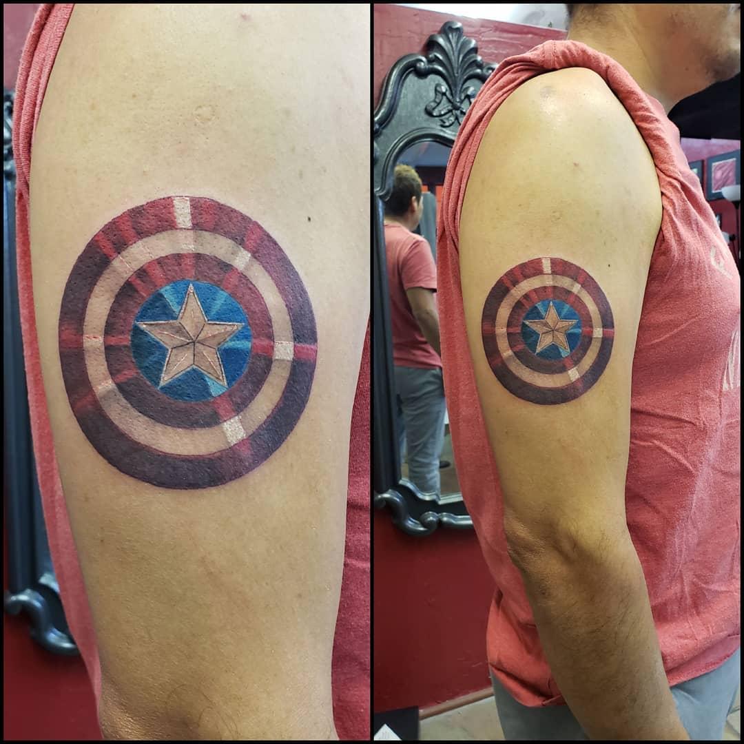 Captain America shiny shield tattoo