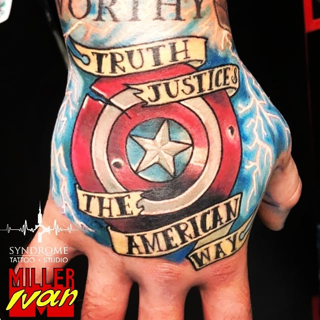 """Captain America """"truth, justice, & the american way"""" tattoo"""