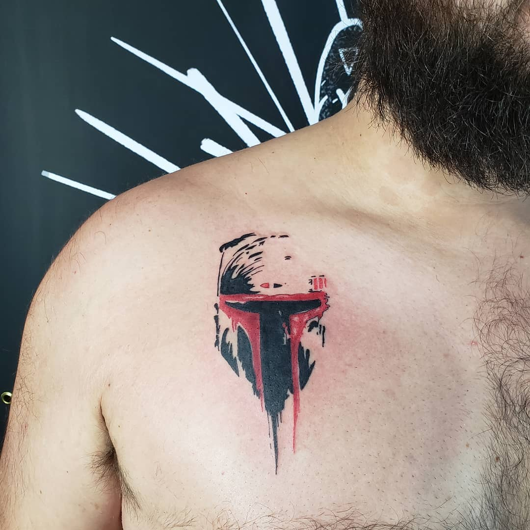 Boba Fett running paint tattoo