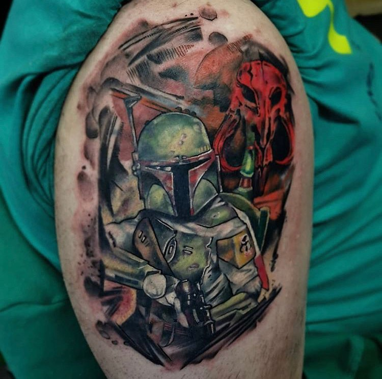 shadowy Boba Fett tattoo