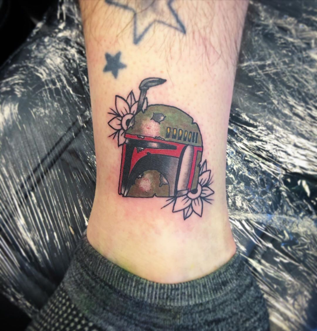 Boba Fett with flowers tattoo