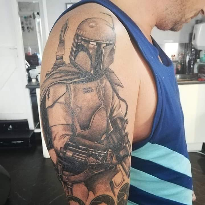 Boba Fett detailed tattoo