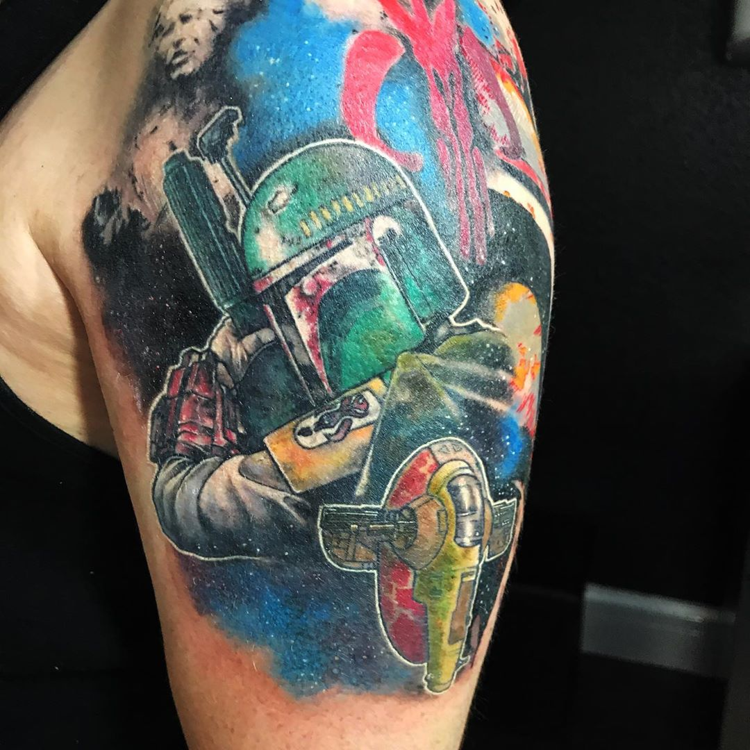 cosmic Boba Fett tattoo