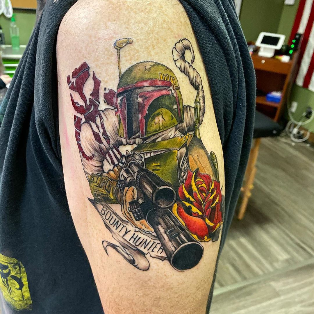 Boba Fett bounty hunter tattoo