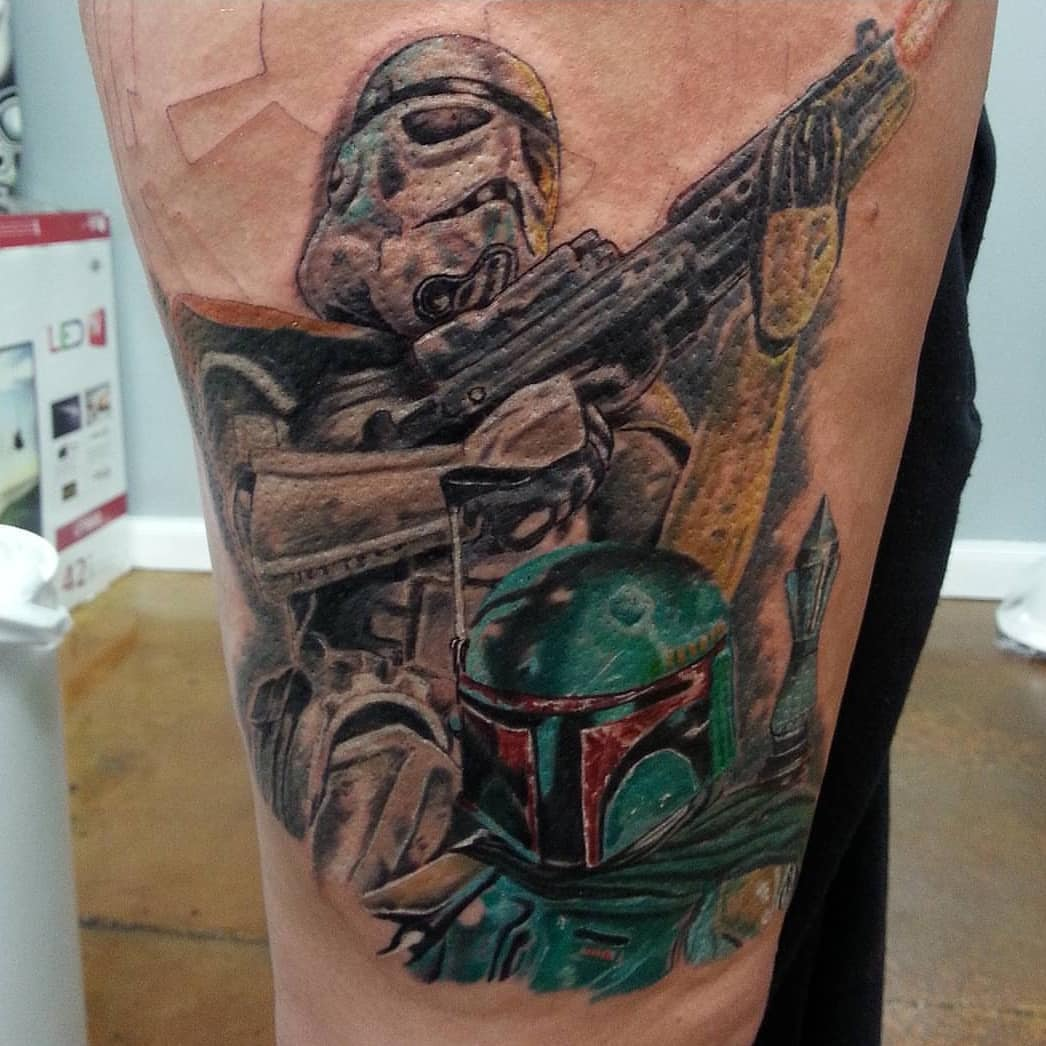 Stormtrooper and Boba Fett tattoo