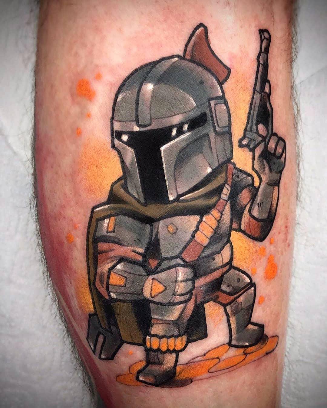 cartoon Mandalorian tattoo