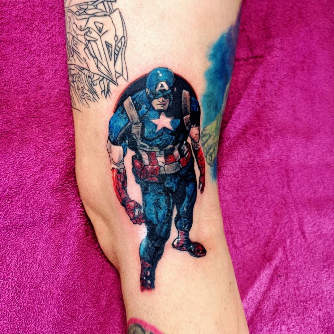 Captain America standing tattoo