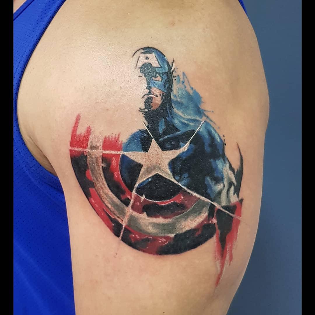 Captain America half face tattoo