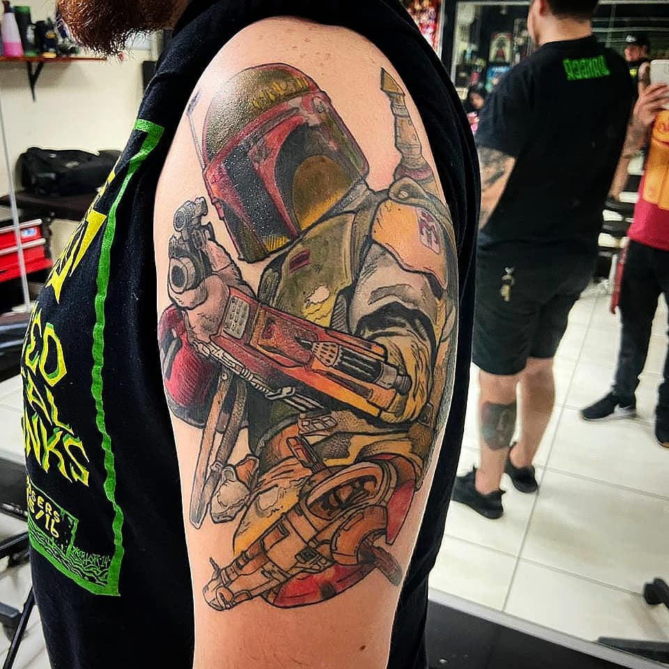 full bicep Boba Fett with spaceship tattoo