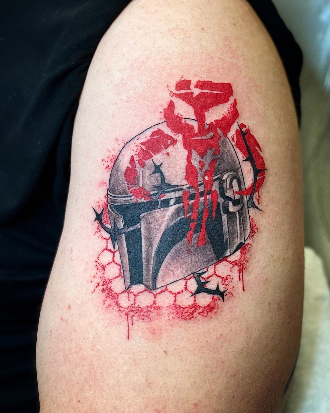 thorny Mandalorian tattoo