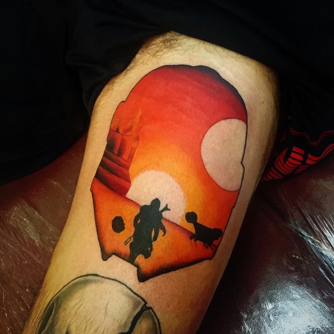 binary sunset Mandalorian tattoo