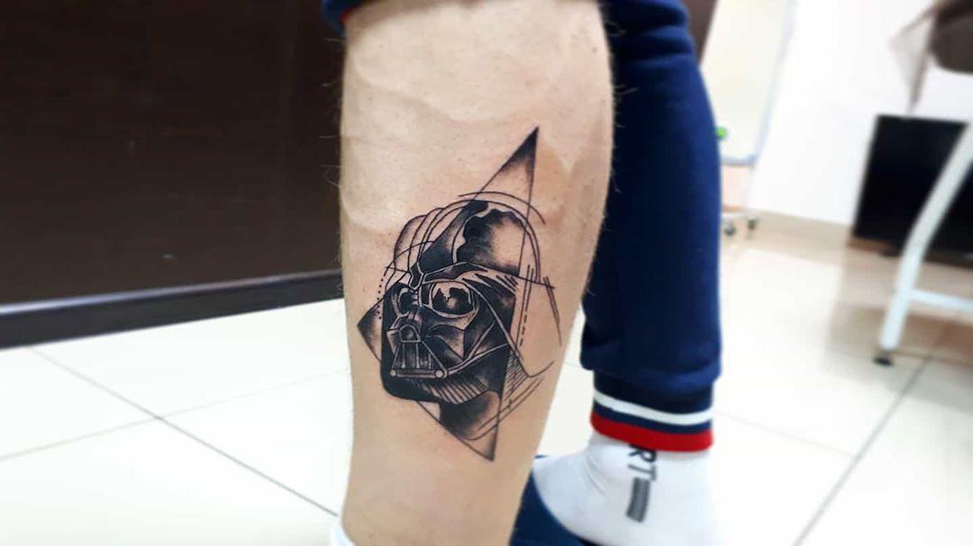 Calf tattoo Darth Vader