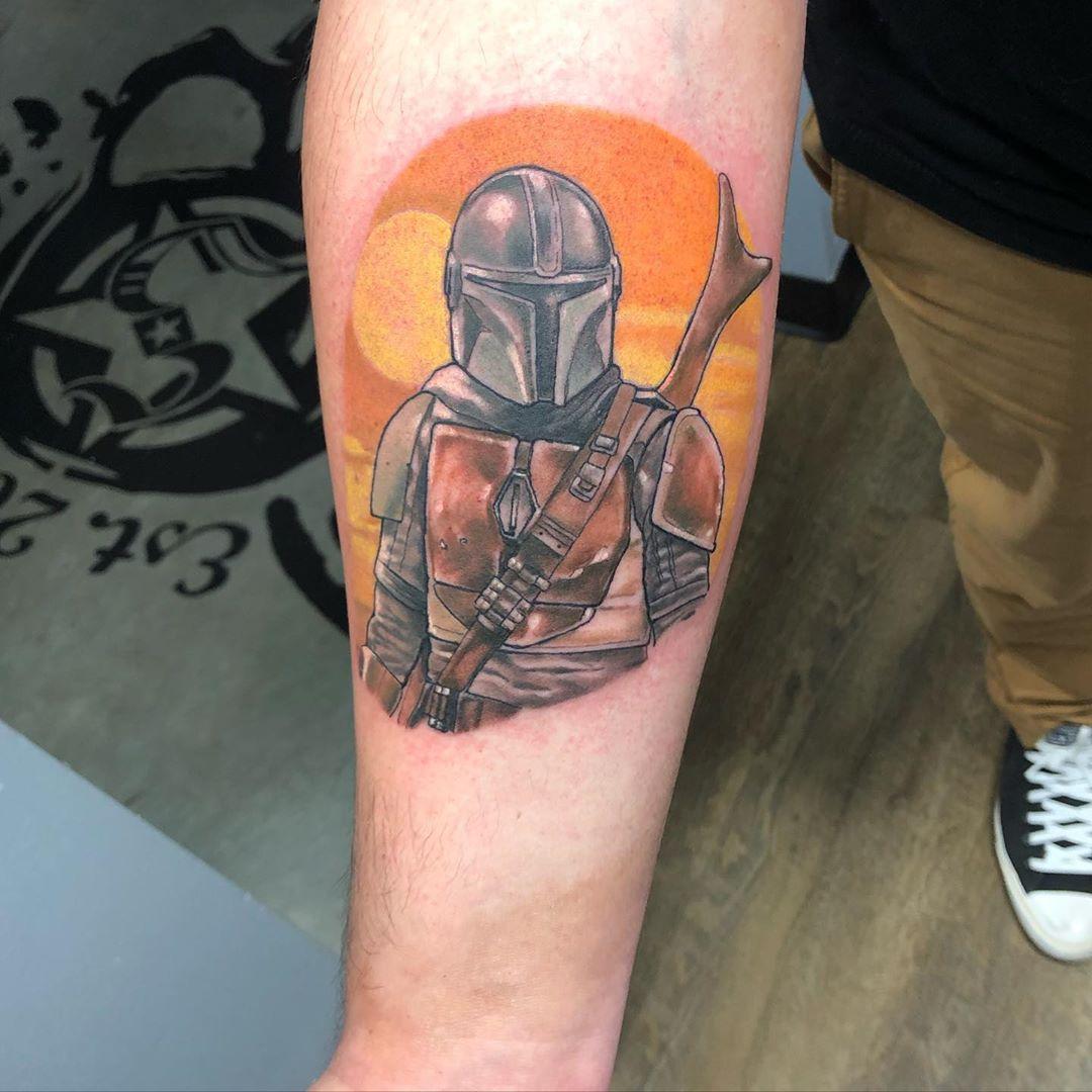 orange sky Mandalorian tattoo