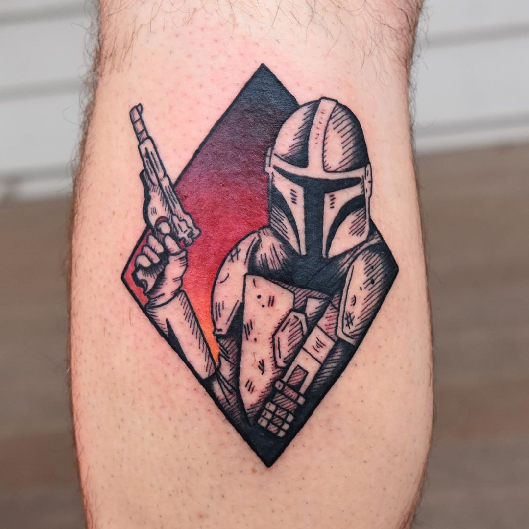 Mandalorian with pistol diamond tattoo
