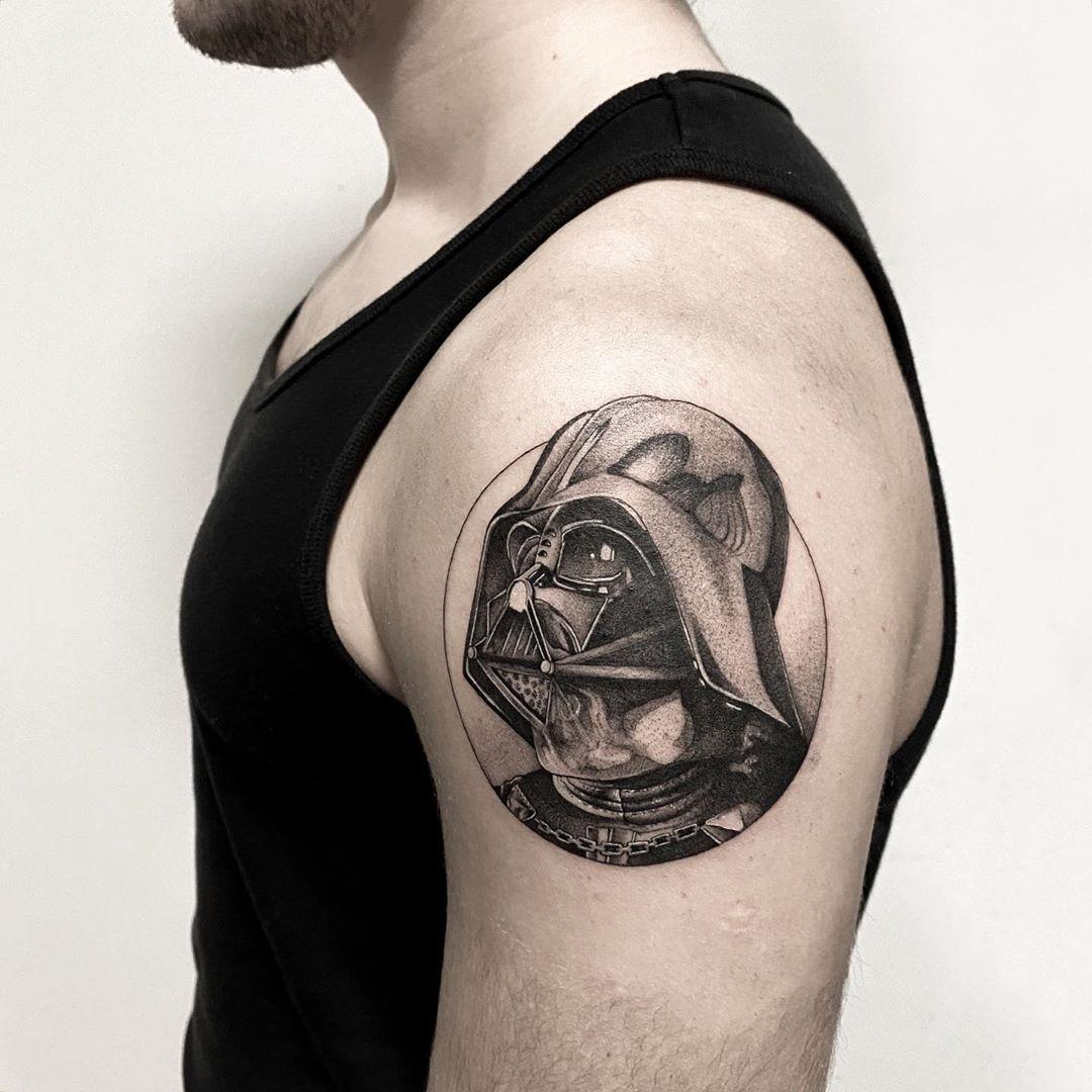 See Through Darth Vader mask tattoo