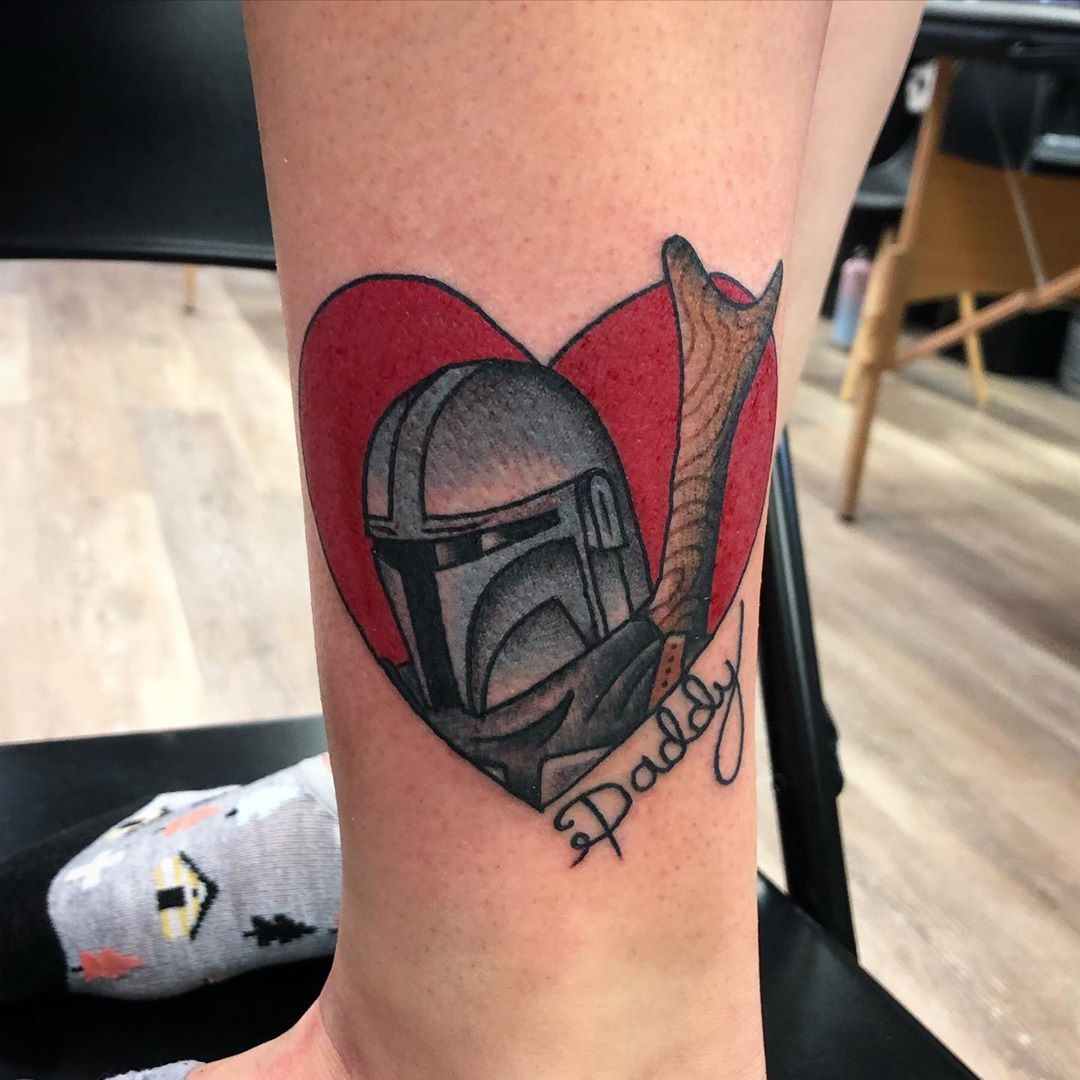 heart Mandalorian daddy tattoo