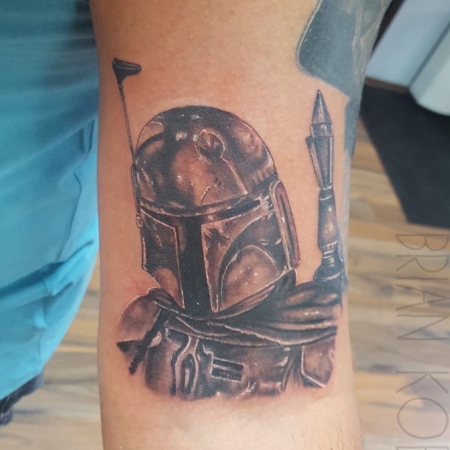 Boba Fett battle scars tattoo