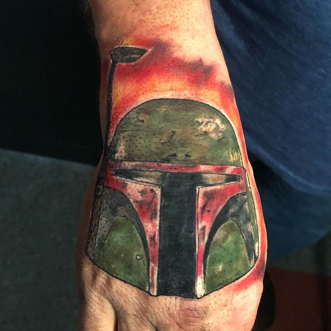 Boba Fett on fire tattoo