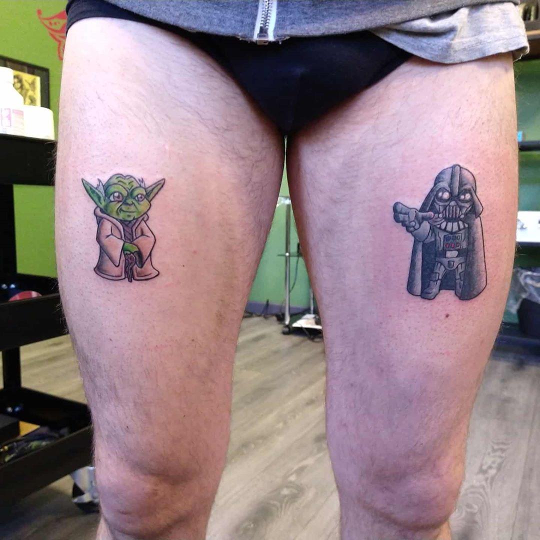 Darth Vader and Yoda tattoos