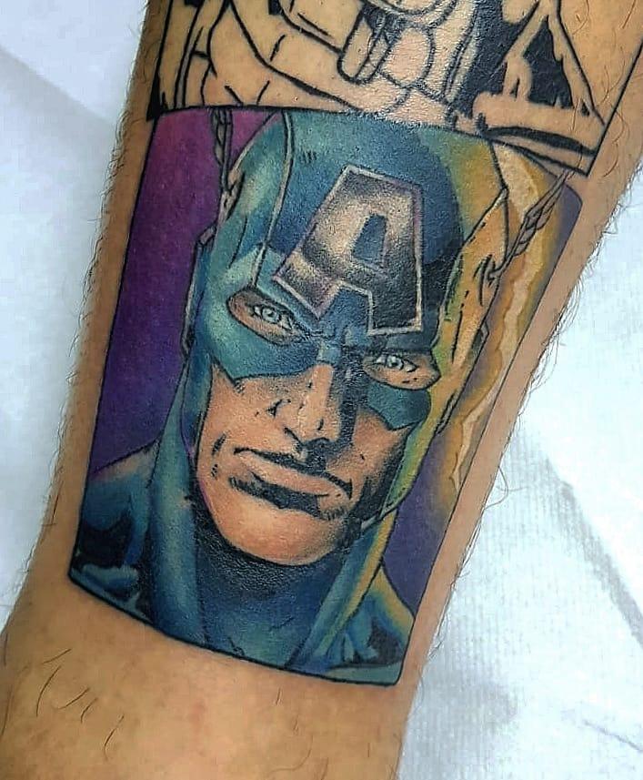 comic book Captain America tattoo