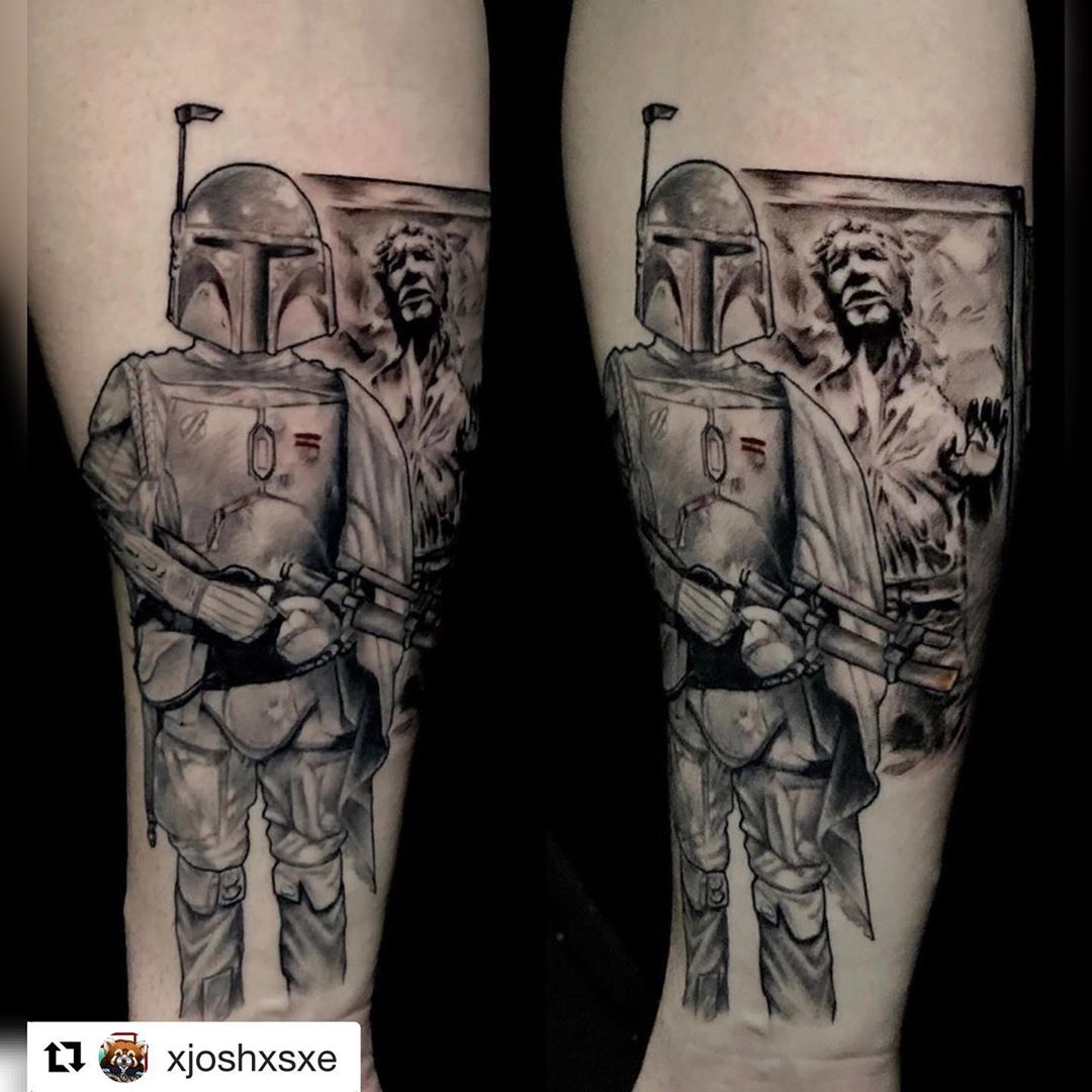 Boba Fett and frozen Han Solo tattoo