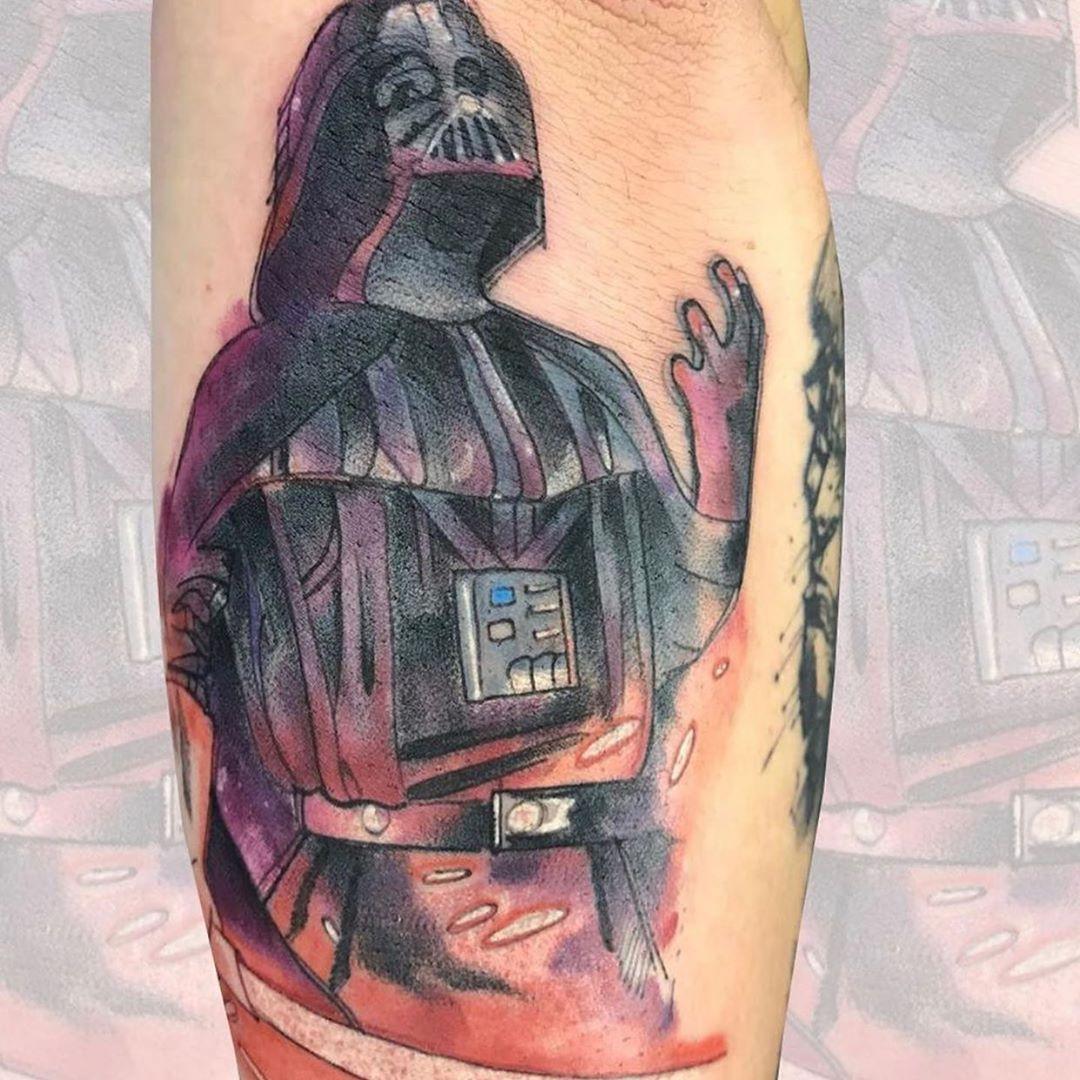 Illustrated Vader tattoo