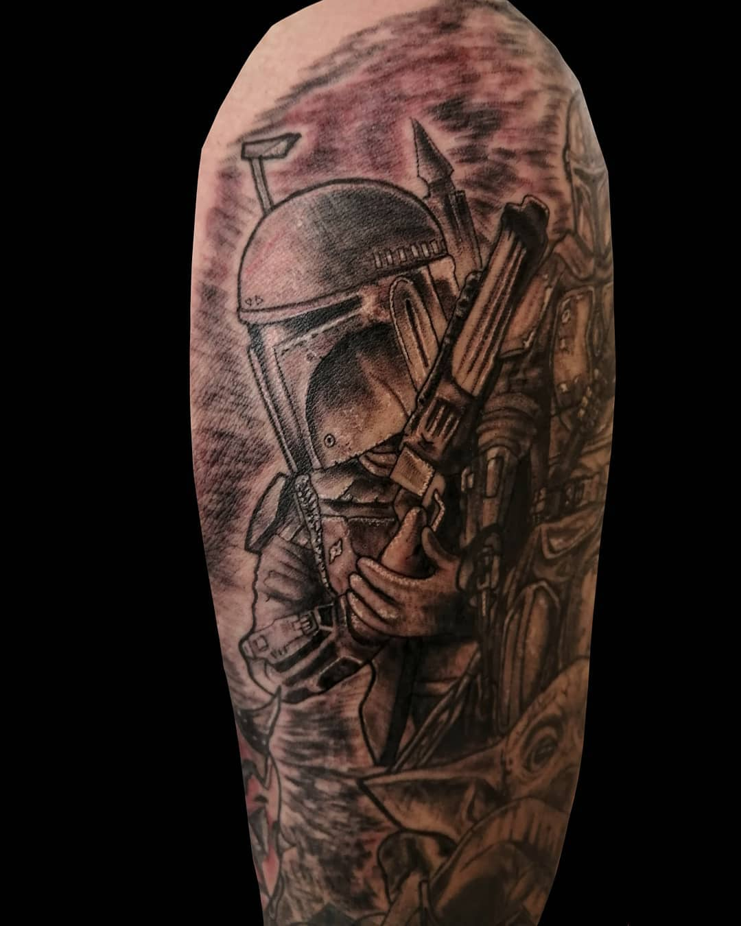Boba Fett ready to fight tattoo