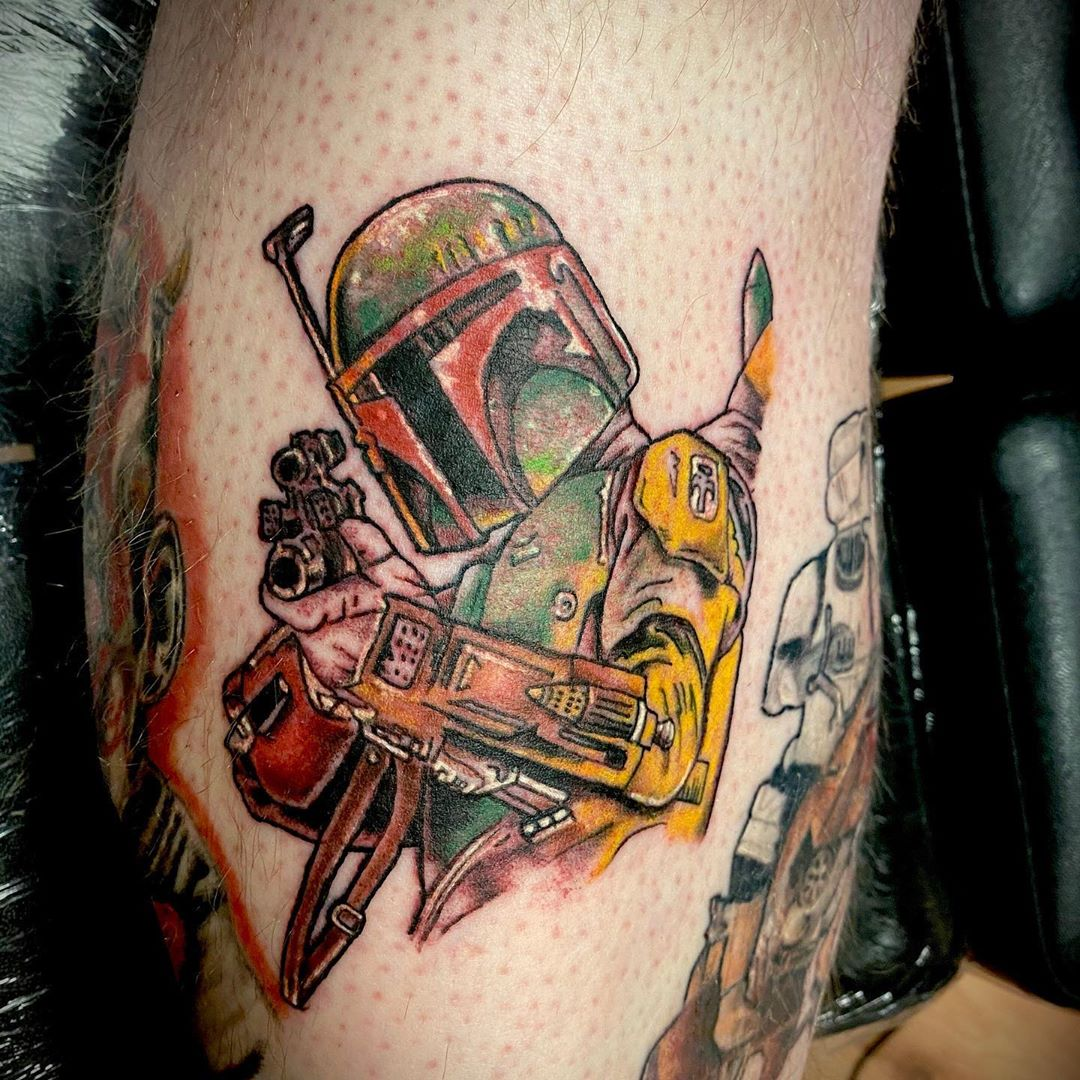 Boba Fett tattoo with gun