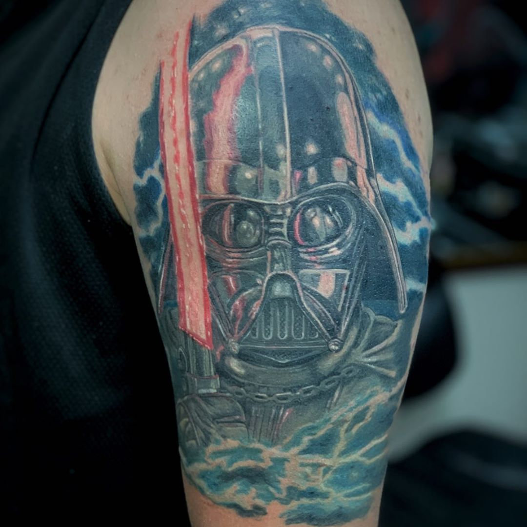 Colorful mask of Darth Vader tattoo