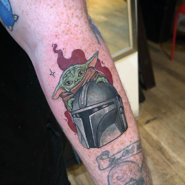Mandalorian and baby Yoda flame tattoo