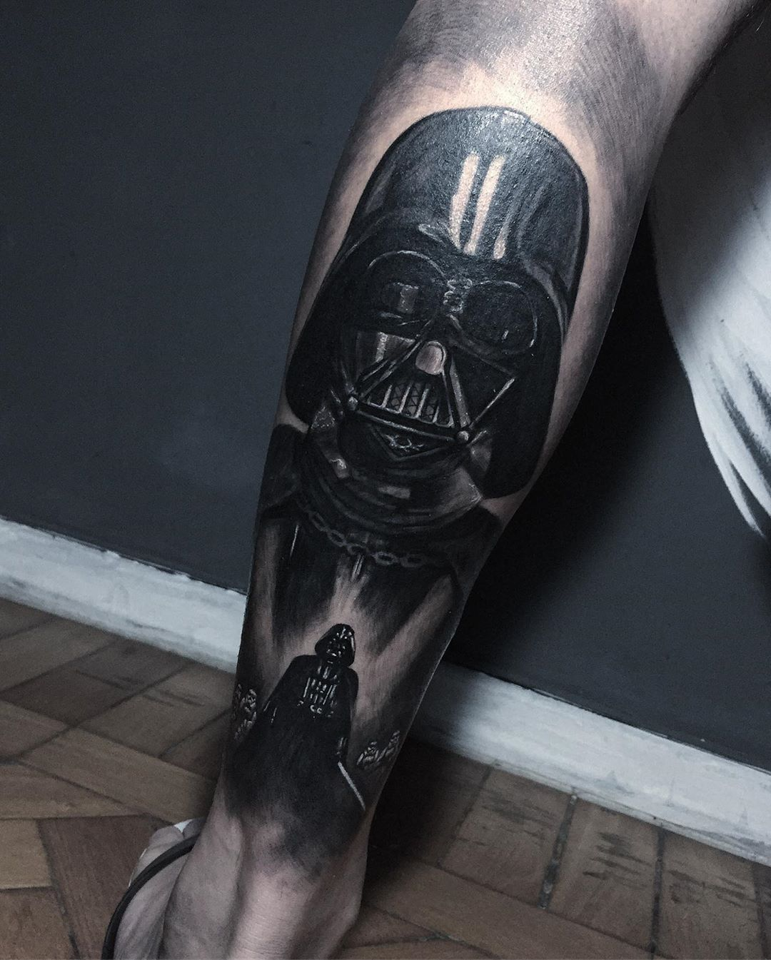 Tattoo depicting both Darth Vader mask and full length body