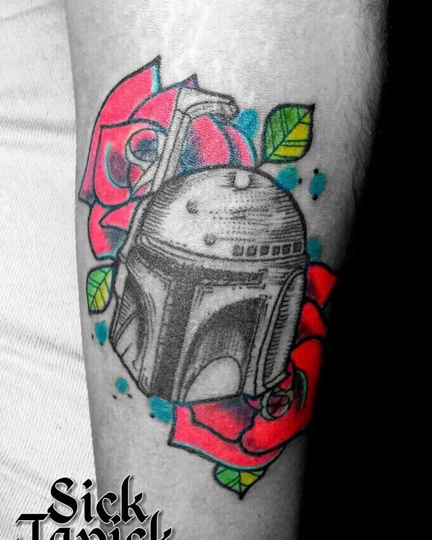 floral Boba Fett tattoo