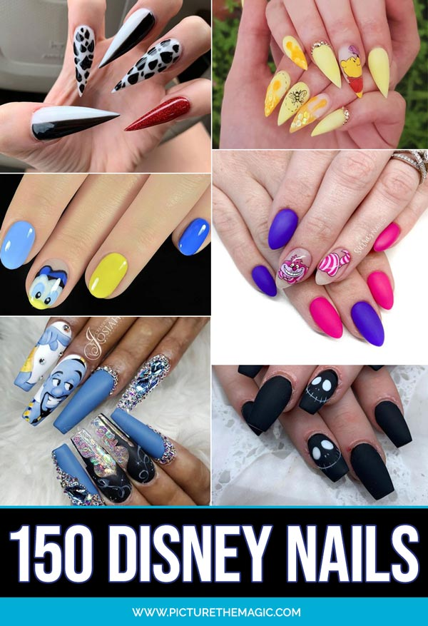 More than 150 Disney Nails! Take this list of Disney nail design ideas to your next manicure and your nails will look amazing. Magical Nail Art!  #nails