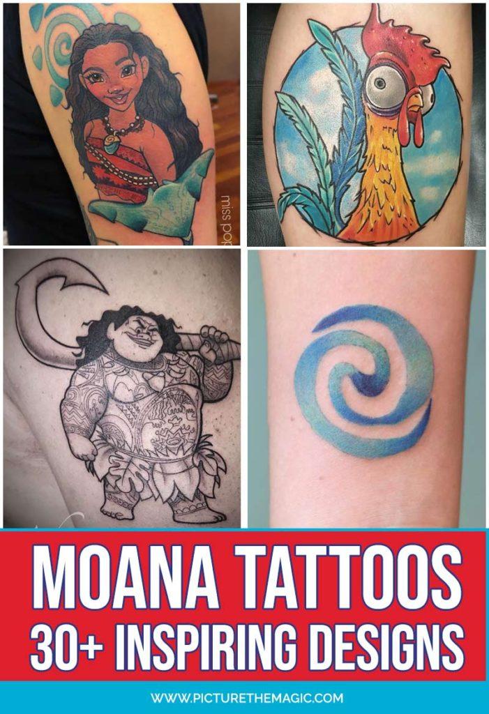 The BEST Moana Tattoo design ideas! Over 30 Moana tattoos to inspire you. #maui #moana #disney