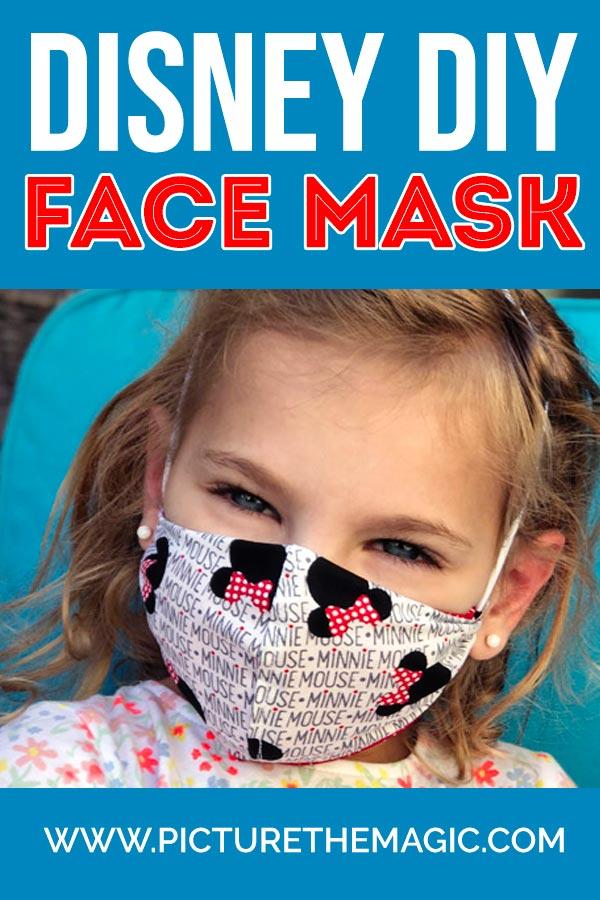 Girl wearing Disney DIY Face Mask made with Cricut