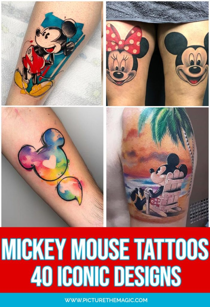 Huge list of the best Mickey Mouse tattoo designs! Want to ink yourself with a classic Mickey tattoo? You'll find an inspirational idea for your quintessential Mickey Mouse tattoo.