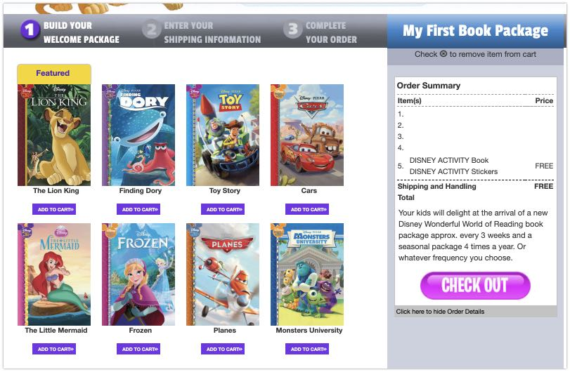 Get four Disney books online from a Disney book service for less than $1 each