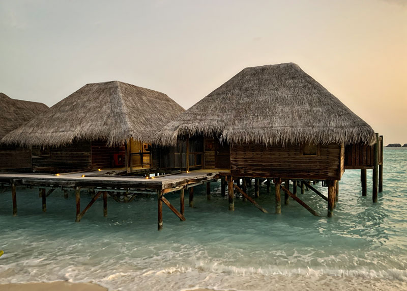 The water villas (or overwater bungalows) at Conrad Maldives Rangali Island.