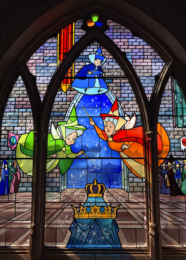 Beautiful stained glass windows in Sleeping Beauty's castle in Disneyland Paris