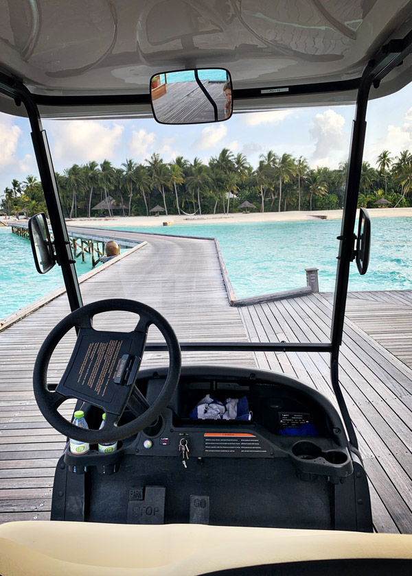 Golf cart transport at Conrad Maldives Rangali Islands