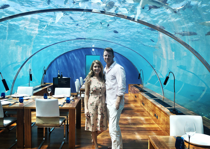 Lunch at Ithaa, the underwater restaurant at Conrad Maldives resort.